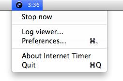 Internet timer screenshot: Menubar