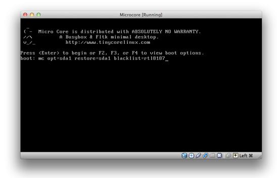 Microcore boot screen